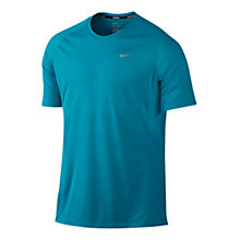 Buy Nike Miler Short Sleeve T-Shirt, Turquoise Online at johnlewis.com