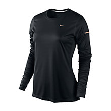 Buy Nike Miler Long Sleeve Running Top, Black/Red Online at johnlewis.com