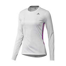 Buy Adidas Response Long Sleeve Crew Neck Top, White/Pink Online at johnlewis.com