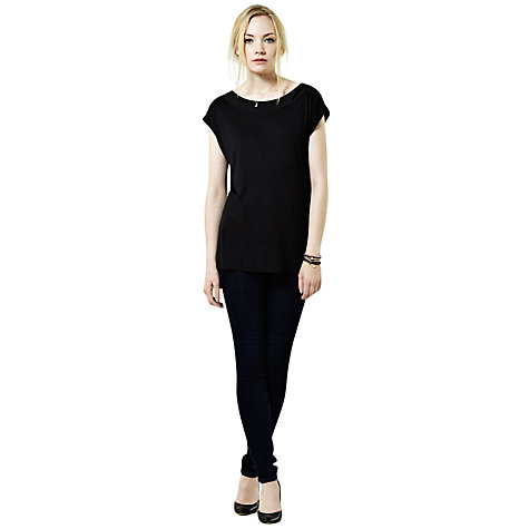 Buy Warehouse Zip Shoulder T-Shirt, Black Online at johnlewis.com