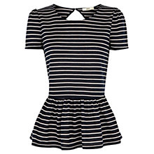 Buy Oasis Stripe Peplum T-Shirt, Multi Blue Online at johnlewis.com
