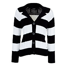 Buy Gerry Weber Stripe Crochet Knitted Cardigan, Blue/Ecru Online at johnlewis.com