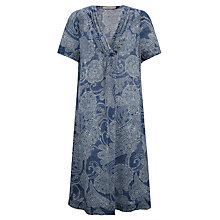 Buy John Lewis Linen Gathered Front Paisley Dress, Blue Online at johnlewis.com
