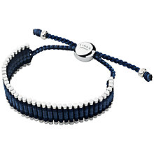 Buy Links of London Friendship Sterling Silver and Leather Bracelet, Blue Online at johnlewis.com
