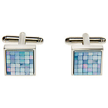 Buy Simon Carter Chequered Mother of Pearl Cufflinks, Blue Online at johnlewis.com