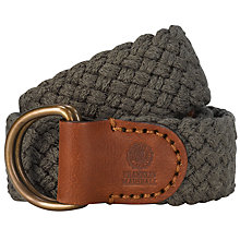 Buy Franklin & Marshall Woven Leather Belt, Green Online at johnlewis.com