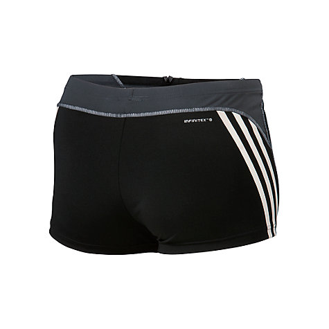 Buy Adidas Infinitex 3 Stripe Boxer Swimming Trunks, Black Online at johnlewis.com