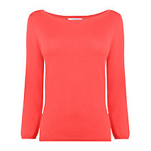 Buy L.K. Bennett Regan Slash Neck Top, Berry Online at johnlewis.com