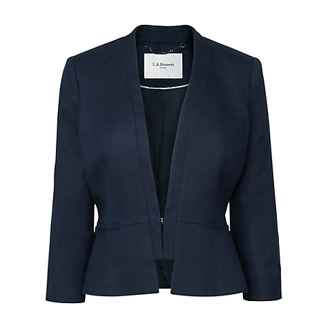 Buy L.K. Bennett June Linen Mix Jacket, Navy Online at johnlewis.com