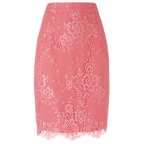 Buy L.K. Bennett Essie Lace Pencil Skirt, Peony Online at johnlewis.com