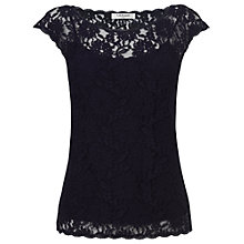 Buy L.K. Bennett Isabela Lace Capped Sleeve Top, Navy Online at johnlewis.com