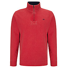 Buy Crew Clothing Half Zip Jersey Jumper, Strawberry Online at johnlewis.com
