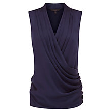 Buy Coast Jemma Satin Drape Top, Navy Online at johnlewis.com