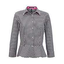 Buy Lauren by Ralph Lauren 3/4 Sleeve Checked Peplum Top, Black/White Online at johnlewis.com