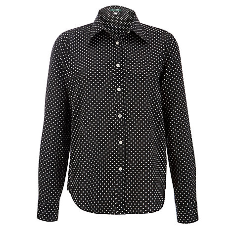 Buy Lauren by Ralph Lauren Long Sleeve Spotted Shirt, Black/Pearl Online at johnlewis.com