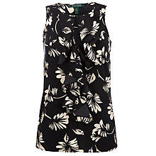 Buy Lauren by Ralph Lauren Ruffle Front Printed Blouse, Black Online at johnlewis.com