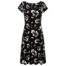 Buy Lauren by Ralph Lauren Printed Capped Sleeve Dress, Black/Cream Online at johnlewis.com