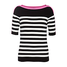 Buy Lauren by Ralph Lauren Striped Boat Neck Jumper, Black/New Vintage Ivory Online at johnlewis.com