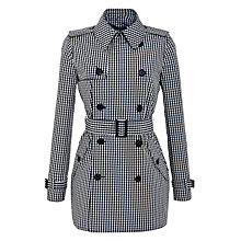 Buy Lauren by Ralph Lauren Short Checked Trench Coat, Black/New Vintage Ivory Online at johnlewis.com
