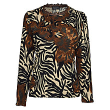 Buy James Lakeland Long Sleeve Zebra Print Top, Brown Online at johnlewis.com