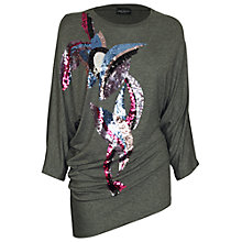 Buy James Lakeland Round Neck Sequin Drape Jumper, Grey Online at johnlewis.com