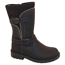 Buy M Kids Zipped Biker Boots, Black Online at johnlewis.com
