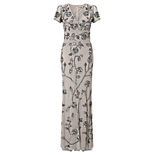 Buy Somerset by Alice Temperley Mesh Beaded Long Dress, Silver Online at johnlewis.com