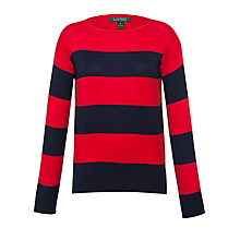 Buy Lauren by Ralph Lauren striped Boat Neck Top, Capri Navy/Cherry Red Online at johnlewis.com
