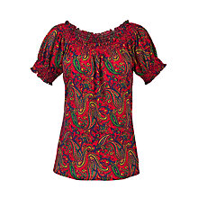 Buy Lauren by Ralph Lauren Printed Smocked Top, Red Multi Online at johnlewis.com
