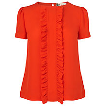 Buy Boutique by Jaeger Molly Frill Silk Blouse, Bright Orange Online at johnlewis.com
