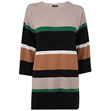 Buy Jaeger Cashmere Stripe Tunic Jumper, Taupe Online at johnlewis.com