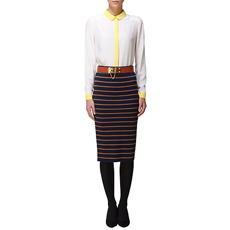 Buy Jaeger Contrast Collar Blouse, Ivory Online at johnlewis.com