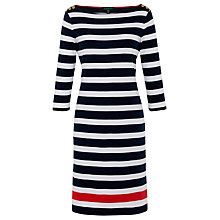 Buy Lauren by Ralph Lauren Button Shoulder Dress, Navy/Red Online at johnlewis.com