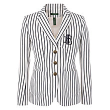 Buy Lauren by Ralph Lauren Striped 3 Button Jacket, Pearl/Capri Navy Online at johnlewis.com