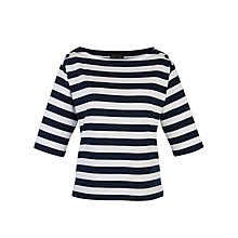 Buy Lauren by Ralph Lauren Button Shoulder Sweatshirt, Capri Navy/White Online at johnlewis.com