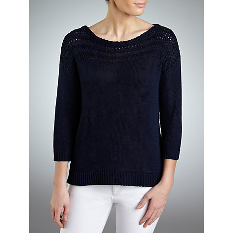 Buy Lauren by Ralph Lauren Textured Boat Neck Jumper, Capri Navy Online at johnlewis.com