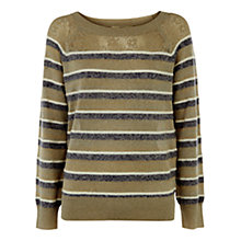 Buy Oasis Pointelle Stripe Sparkle Top, Multi Online at johnlewis.com