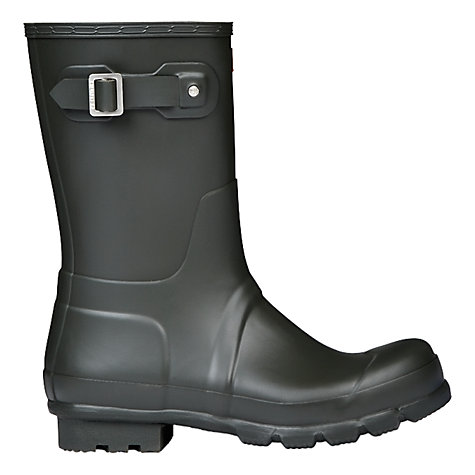 Buy Hunter Men's Original Short Tab Wellington Boots, Dark Green Online at johnlewis.com