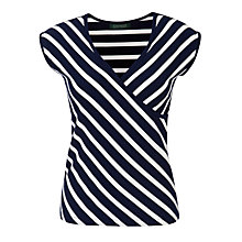 Buy Lauren by Ralph Lauren Faux Wrap Top, Capri Navy/White Online at johnlewis.com