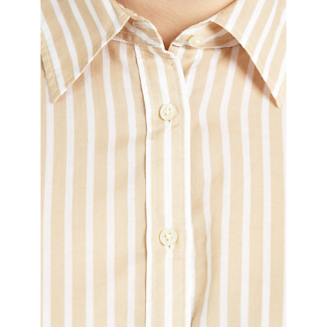 Buy Lauren by Ralph Lauren Striped Turn-Up Sleeve Shirt, Hampton Khaki/White Online at johnlewis.com