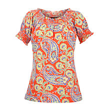 Buy Lauren by Ralph Lauren Printed Smocked Top, Dark Coral Online at johnlewis.com