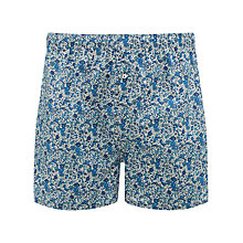 Buy John Lewis Liberty Print Floral Boxers with Bag, Blue Online at johnlewis.com