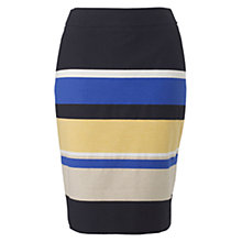 Buy Hobbs Caprise Striped Skirt, Black/Multi Online at johnlewis.com