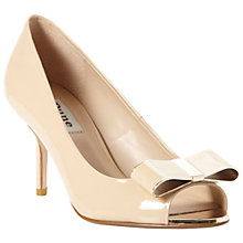 Buy Dune Demure Bow Trim Patent Peep-Toe Court Shoes, Blonde Online at johnlewis.com