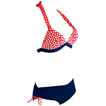 Buy Zoggs Queens Cliff Bikini, Navy/Red Online at johnlewis.com