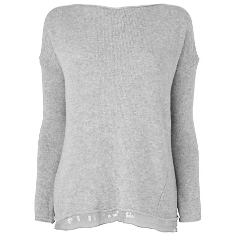 Buy Phase Eight Safia Sequin Trim Jumper, Grey Marl Online at johnlewis.com