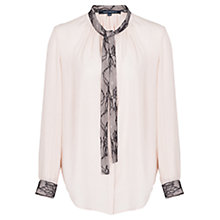 Buy French Connection Lucy Lace Tie Neck Shirt, Cream Online at johnlewis.com