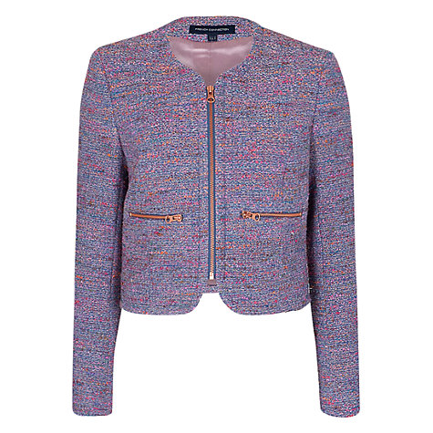 Buy French Connection Rainbow Boucle Zip Jacket, Blue/Pink/Multi Online at johnlewis.com