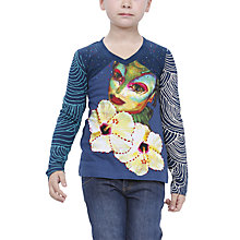 Buy Desigual Lila Long Sleeved Top, Blue Online at johnlewis.com