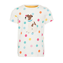 Buy Little Joule Maggie Girls' Short-Sleeved Dog Top, Multi/Cream Online at johnlewis.com